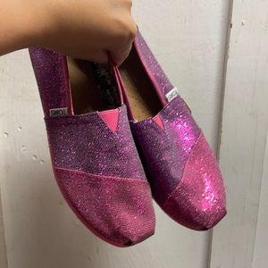Pink/ purple glitter Toms shoes